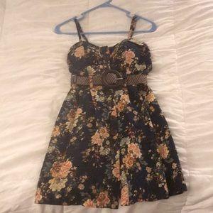 Delias XS Vintage Floral Wooden Button Dress